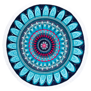 Round Beach Towel with Fringing - Mandala