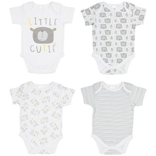 White Baby Bodysuit 4pk - Little Cutie