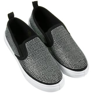 Ladies Jewel Canvas Shoes - Black