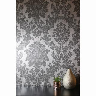 Velvet Damask Wallpaper - Silver