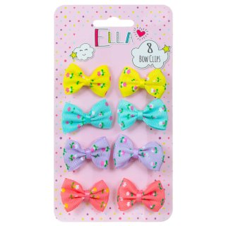 Ella Hair Bow Clips 8pk - Bright Flowers