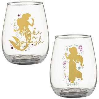 Disney Tumbler Glass Set 2pk - Ariel & Jasmine