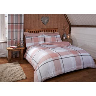 Tara Woven Check King Duvet Set - Blush