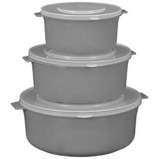Microwaveable Bowls with Lids 3pk - Grey