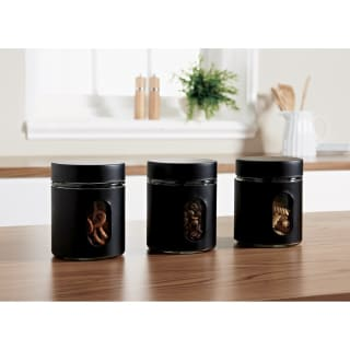 Glass Storage Canisters 3pk - Black