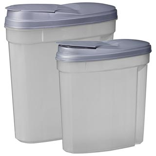 Plastic Containers with Flip Top Lid 2pk - Grey