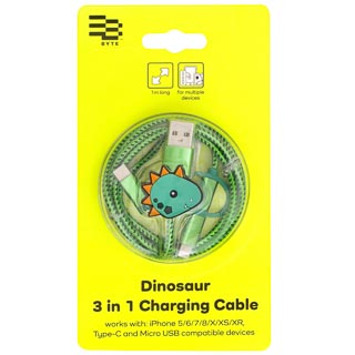 Byte 3-in-1 Charging Cable - Dinosaur