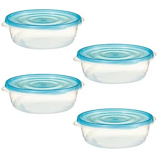 Plastic Round Food Containers 4pk - Blue