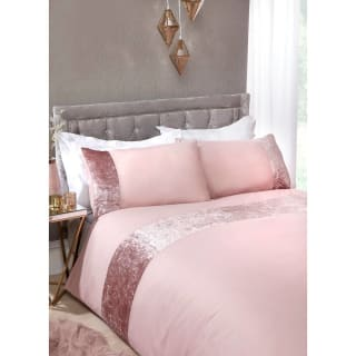 Crushed Velvet King Duvet Set - Blush