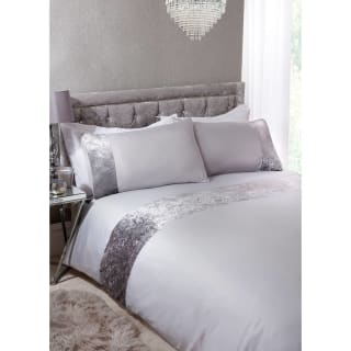 Crushed Velvet King Duvet Set - Silver