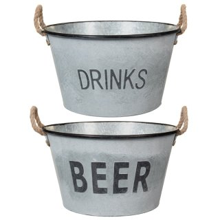 Large Galvanised 'Beer' Bucket Planter