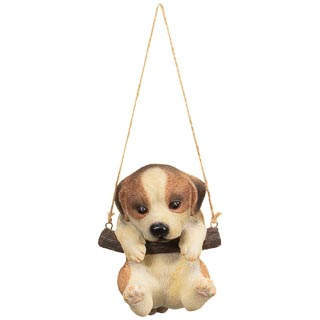 Swinging Dog Garden Ornament - Brown & White
