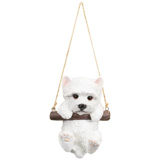 Swinging Dog Garden Ornament - White