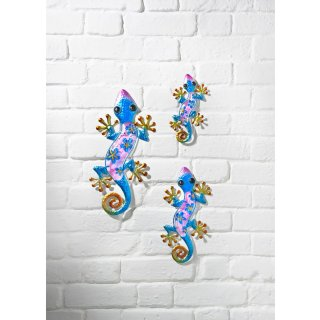 Glass Gecko Wall Art 3pk - Blue
