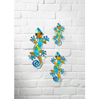 Glass Gecko Wall Art 3pk - Gold