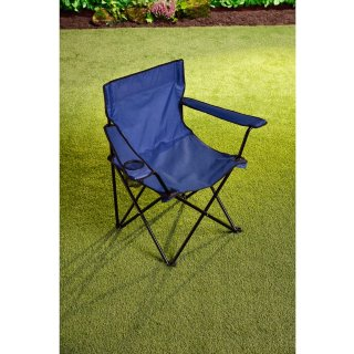 Folding Camping Chair with Cup Holder - Navy