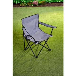 Folding Camping Chair with Cup Holder - Grey