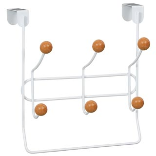 Overdoor Ball Hooks with Hanging Rail 6pk - White