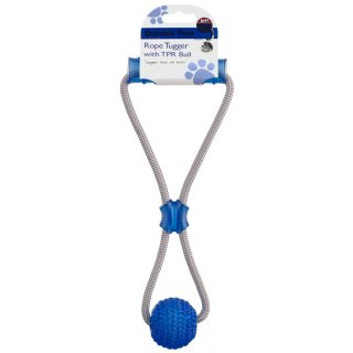 Rope Tugger with Ball Dog Toy - Blue
