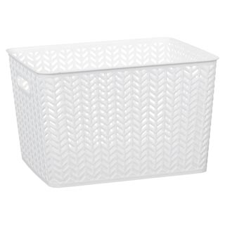 Large Chevron Storage Basket - White