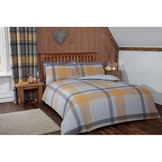 Tara Woven Check King Duvet Set - Ochre