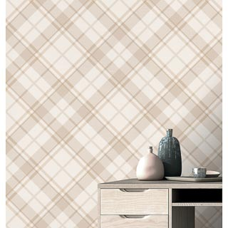 Turner & Gray Diamond Plaid Wallpaper - Neutral