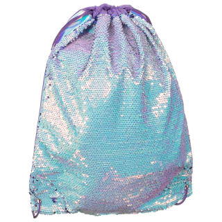 Reversible Sequin Drawstring Bag - Blue