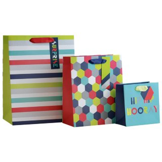 Size Assorted Gift Bags 3pk - Hip Hip Hooray