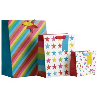 Size Assorted Gift Bags 3pk - Stripes & Stars