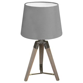 Wooden Tripod Lamp - Grey
