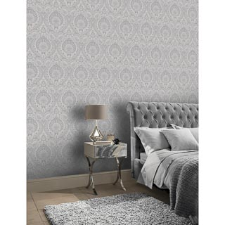 Decoris Damask Wallpaper - Silver