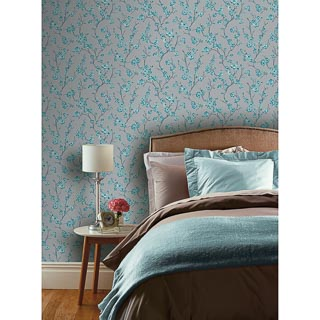 Oriental Blossom Wallpaper - Teal