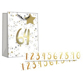 Gift Bag with Age Stickers - White with Stars