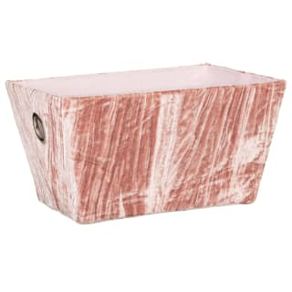 Crinkle Velvet Storage Basket - Blush