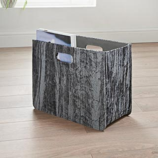 Crinkle Velvet Magazine Holder - Grey