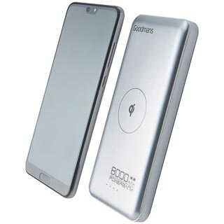 Goodmans 10,000mAh Qi Wireless Power Bank - Silver