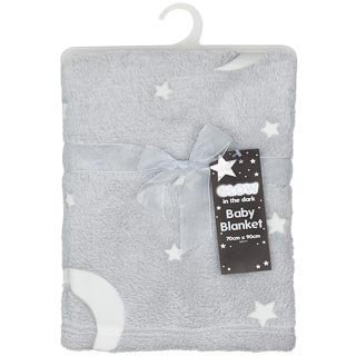Glow in the Dark Baby Blanket - Grey Stars