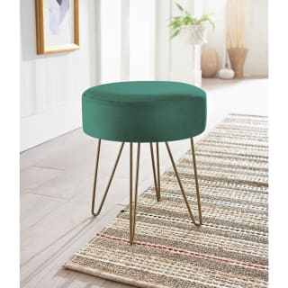 Velvet Footstool - Dark Green