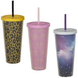 Double Walled Metallic Soda Cup 630ml - Space