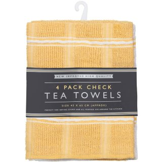 Check Tea Towels 4pk - Ochre