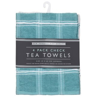 Check Tea Towels 4pk - Teal
