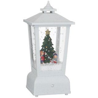 Light Up Christmas Snow Lantern - White