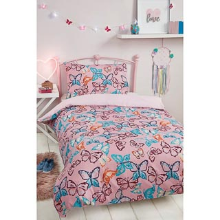 Girls Single Duvet Set - Butterfly