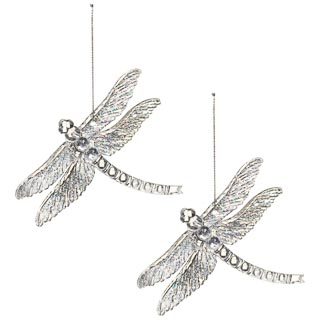 Acrylic Hanging Dragonfly 2pk - Clear