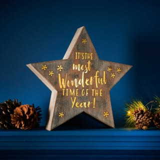 Wooden Light Up Christmas Star - Most Wonderful Time