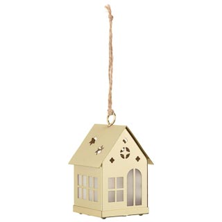 Hanging House with LED Tealight - Gold