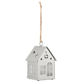 Hanging House with LED Tealight - Silver