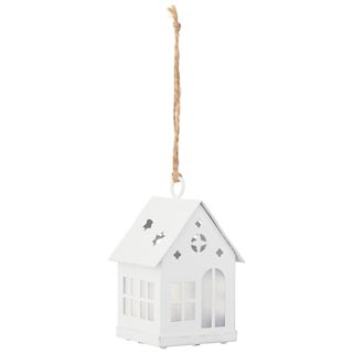 Hanging House with LED Tealight - White