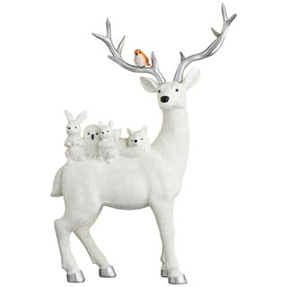 Stag & Woodland Animals Ornament - White