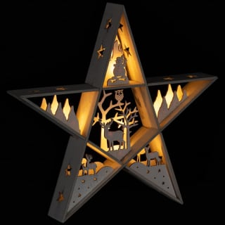 Cut Out Star Christmas Scene - White